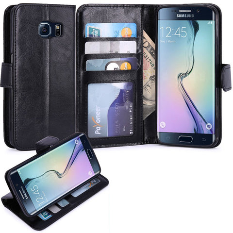 Leather Case Flip Wallet Cover Credit Card ID Slot Stand - Black - Selna N04