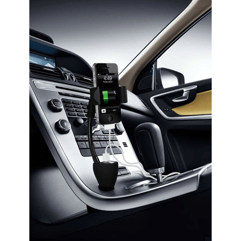 Car Mount for Lighter DC Charger - USB 2-Port and Extra Socket - Fonus B01
