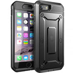 Hybrid Case Rugged Holster Swivel Belt Clip - Built-in Screen Protector - Black - Selna L02