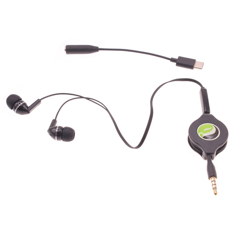 Retractable Earpones with TYPE-C Adapter Headphones - Black - Fonus P13
