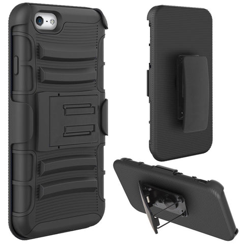 Black Armor Case with Belt Clip Stand - Black - Selna N01