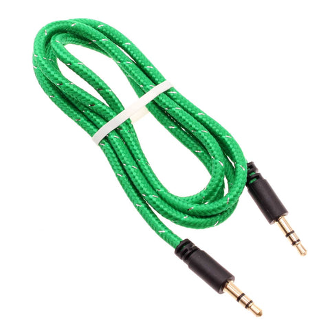 3.5mm Audio Cable Aux-in Car Stereo Speaker Cord - Braided - Green - Fonus B39