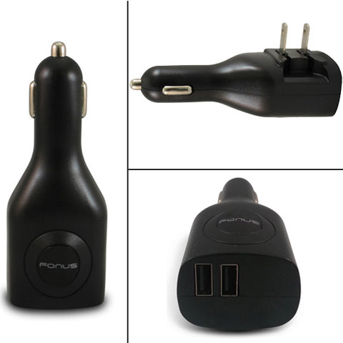 2-in-1 Car Home Wall Charger 2-Port USB - Folding Prongs - Fonus M67