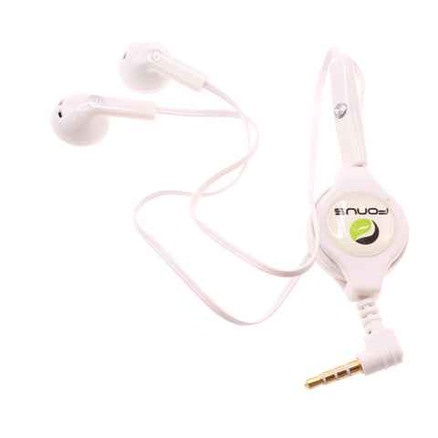 Retractable Earphones 3.5mm Headphones - Dual Earbuds - White - Fonus B56