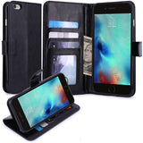 Leather Case Flip Wallet Cover Credit Card ID Slot Stand - Black - Selna N02