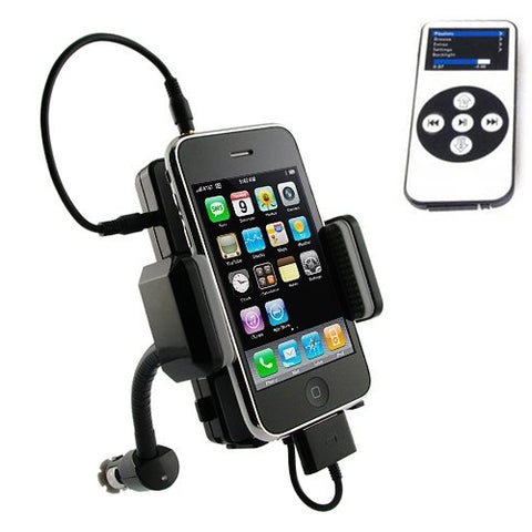 All-in-one FM Transmitter Hands Free Car Kit Charger and Holder with Remote Control - Fonus UK3
