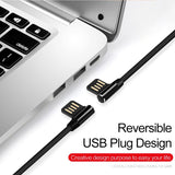10ft USB to Lightning Cable - 90 Degree Right Angle - Braided - Black - R36
