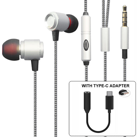 Wired Headphones Hi-Fi Sound Earphones - USB-C Adapter - Silver - Fonus S49