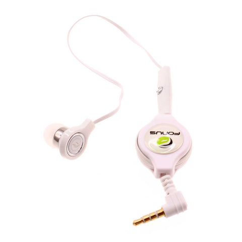 Retractable Mono Earphone 3.5mm Headphone In-Ear Single Earbud - White - Fonus M83