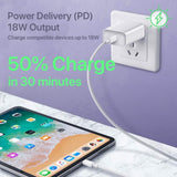 White 18W USB-C Fast PD Wall Charger 6ft Type-C Cable