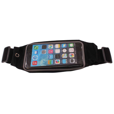 Waist Bag Sports Running Cover - Touch Screen Window - L - Reflective - Black - Fonus C66