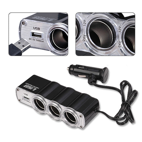 3-Port Socket Car DC Charger Adapter Splitter with USB - M60