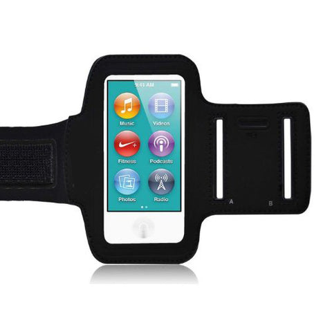 iPod Nano 7th Gen Sports Armband Gym Running Band - Black - Fonus F08