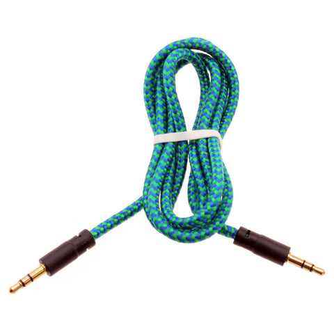 3.5mm Audio Cable Aux-in Car Stereo Speaker Cord - Braided - Green - Fonus M99
