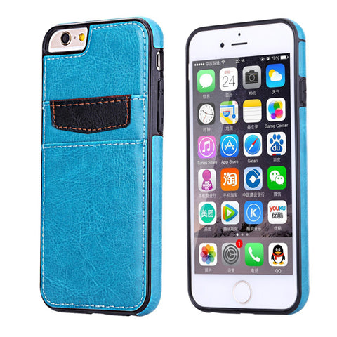 Leather Case Luxury Wallet Cover Credit Card ID Slot Stand - Aqua Blue - Selna N18