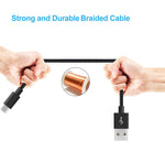 6ft USB to Lightning Cable - Cotton Braided - Black - K94