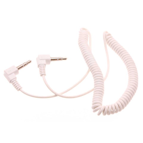 3.5mm Audio Cable Aux-in Car Stereo Speaker Cord - Right Angle - Coiled - White - Fonus G49