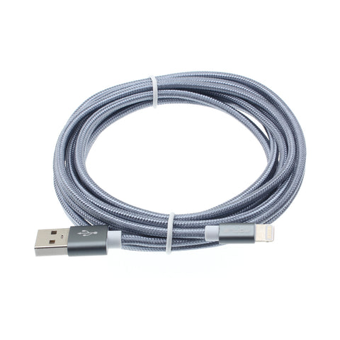 10ft USB to Lightning Cable Charger Cord - Braided - Gray - K35