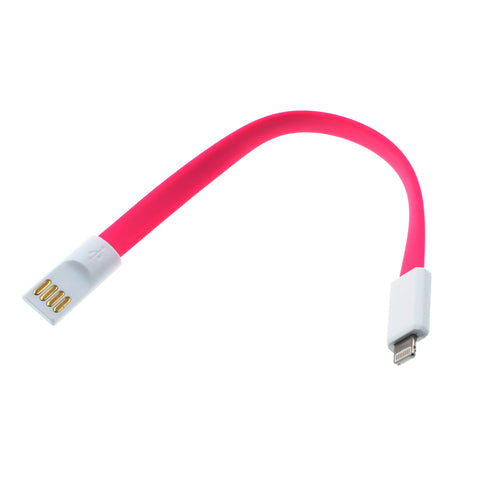 Short USB to Lightning Cable Charger Cord - Flat Magnetic - Pink - E66