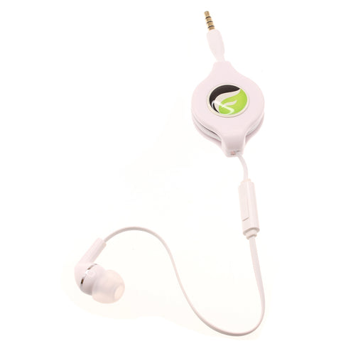 Retractable Mono Earphone 3.5mm Headphone In-Ear Single Earbud - White - Fonus S09
