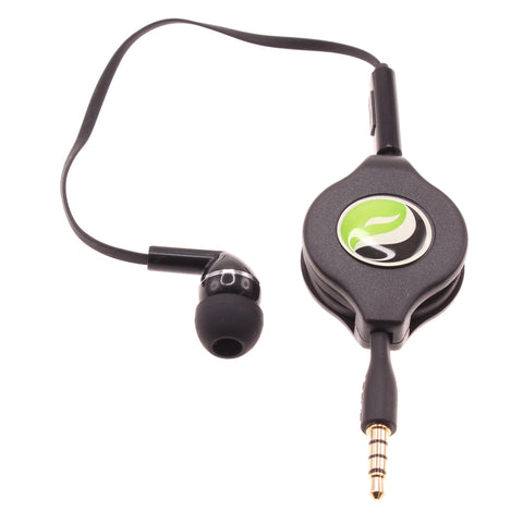 Retractable Mono Earphone 3.5mm Headphone In-Ear Single Earbud - Black - Fonus F75