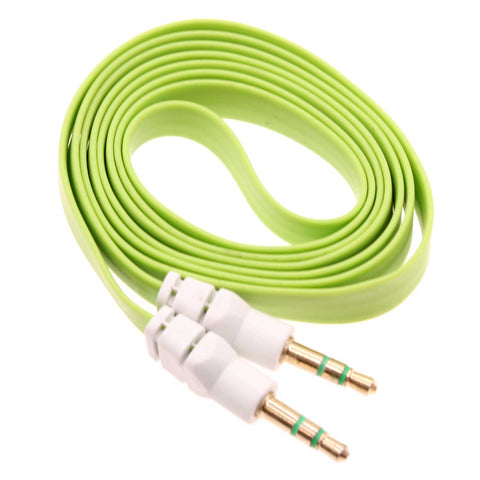 3.5mm Audio Cable Aux-in Car Stereo Speaker Cord - Flat - Green - Fonus J18