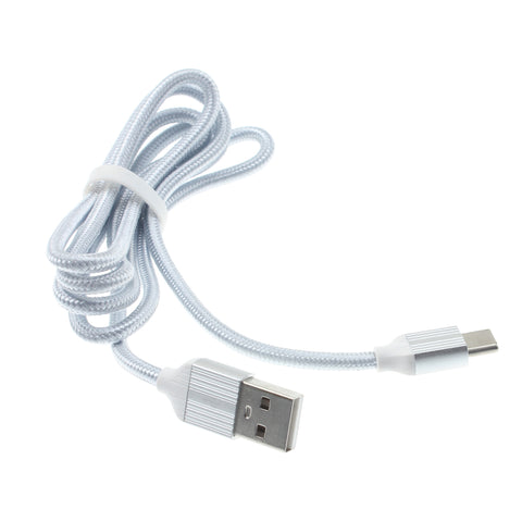3ft USB-C Cable Charger Power Cord - Braided - Silver - L77