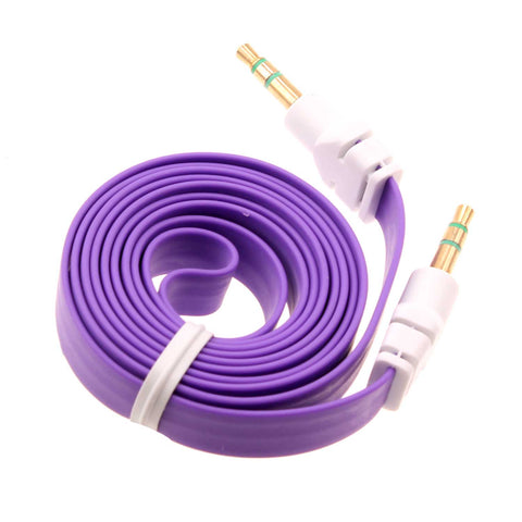 3.5mm Audio Cable Aux-in Car Stereo Speaker Cord - Flat - Purple - Fonus J08