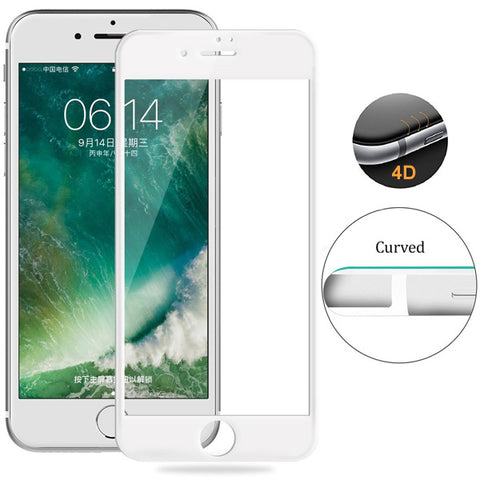 iPhone 6S/7/8 - Tempered Glass Screen Protector - HD Clear - 5D Curved - Full Cover - White