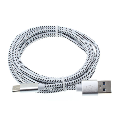 6ft USB-C Cable Charger Cord - Braided - White - Fonus C02
