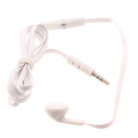 Mono Earphone 3.5mm Headphone - Flat Wired - Single Earbud - White - Fonus J87