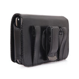 Leather Case Belt Clip Swivel Holster Cover - LCASE17 - Black - Fonus M28