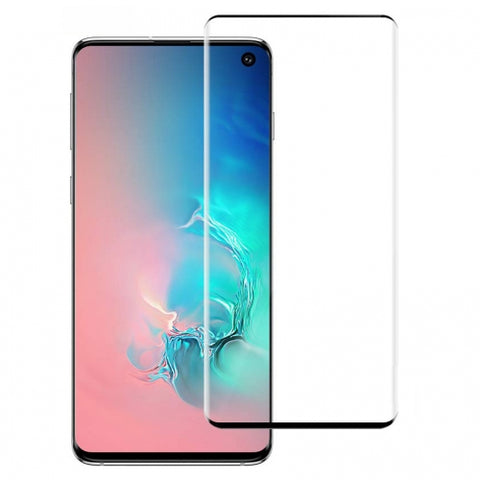 Samsung Galaxy S10 Plus - Tempered Glass Screen Protector - Full Cover Curved - Fingerprint Unlock