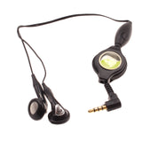 Retractable Earphones 3.5mm Headphones - In-Ear Earbuds - Black - Fonus B92