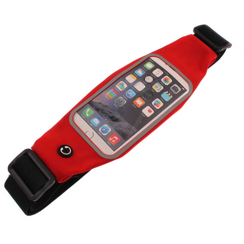 Waist Bag Sports Running Cover - Touch Screen Window - M - Reflective - Red - Fonus E48