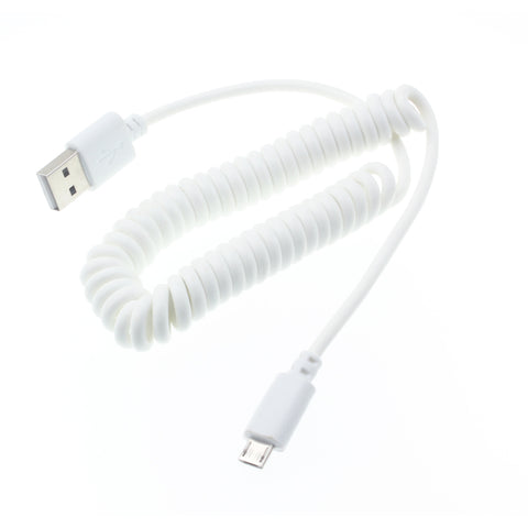 Micro USB Cable Charger Cord - Coiled - White - Fonus K04