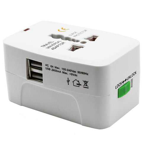 International World Travel Charger Adapter Plug 2-Port USB - M08