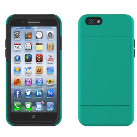 Hybrid Case Dual Layer Armor Bumper Cover - ID Card Slot - Light Green - Selna N09