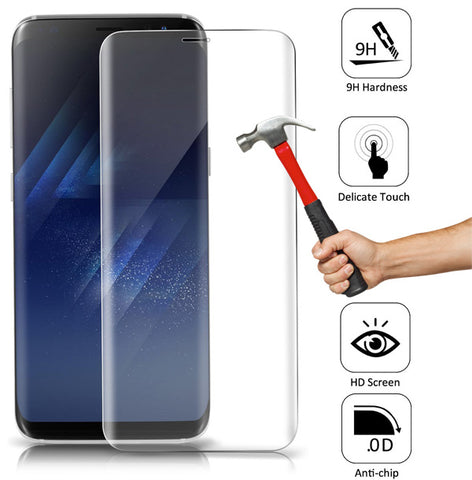 Samsung Galaxy S8 Plus - Tempered Glass Screen Protector - HD Clear - Curved - Full Cover