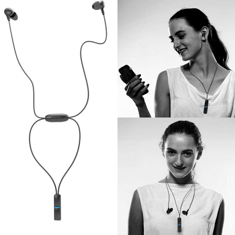 Hi-Fi Sports Wireless Earphones Pendant Style Earbuds - Black - B89