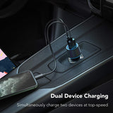 36W 2-Port Car PD Charger w 6ft USB-C Cable - M62