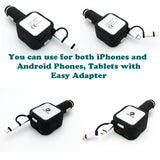 2-in-1 Retractable Car Charger 2-Port USB - MicroUSB and Lightning - Fonus C82
