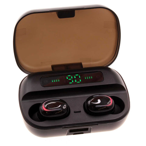 TWS Wireless Earphones with LED Display and Power Bank - Black - R25