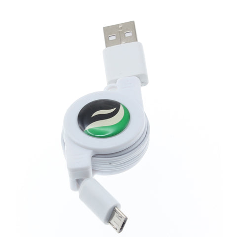 Retractable Micro USB Cable Charger Cord - White - Fonus C65