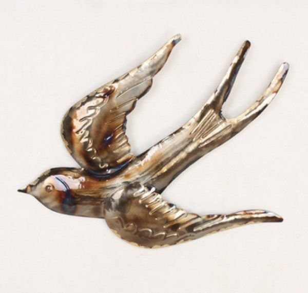 Swallow swooping metal wall art