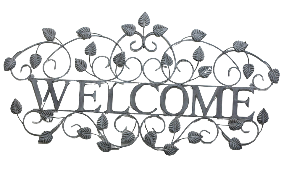 Welcome sign brushed silver