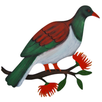 Kereru flat coloured wall art