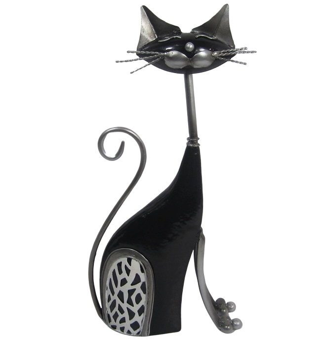 Cat - Black - Free standing metal