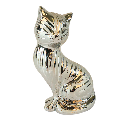 Cat ceramic silver sitting freestanding