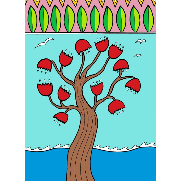 Pohutukawa Deco Beach Rect Large Card